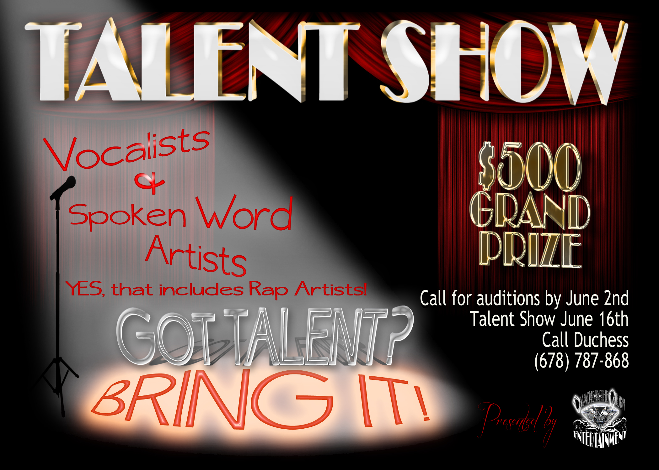 1 sided flyer for lisa walker you got itbring it talent show